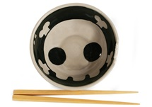 Picture of Jolly Roger Handmade Ceramic Noodle Medium Bowl Black