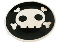 Picture of Jolly Roger Handmade Ceramic Side Plate Black