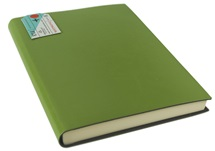 Picture of Journalista Handmade Recycled Leather Bound A5 Journal Moss lined