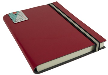 Picture of Journalista Handmade Recycled Leather Band A5 Journal Red Plain