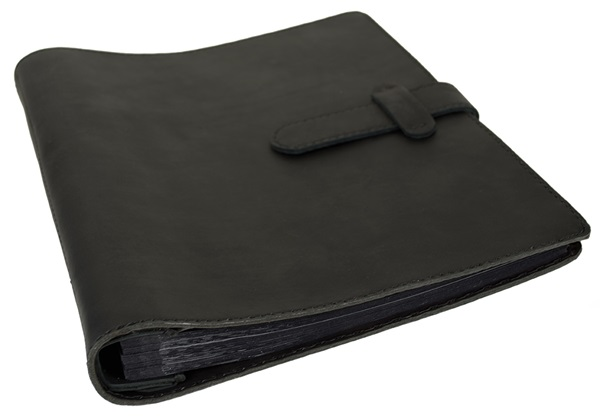 Picture of Khun Handmade Leather Bound Large Post Bound Photo Album Black