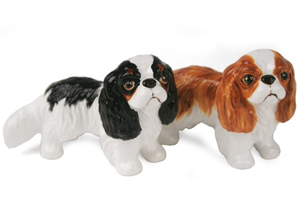 Picture of King Charles Spaniel Handmade Mini Cruet Set Fawn and Black