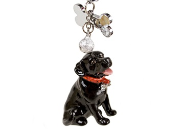 Picture of Labrador Retriever Handmade Mini Key Ring Black