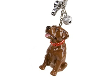 Picture of Labrador Retriever Handmade Mini Key Ring Chocolate
