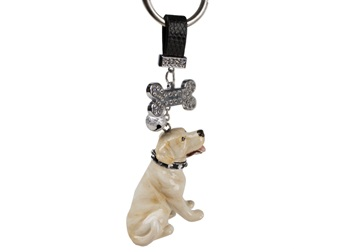 Picture of Labrador Retriever Handmade Mini Key Ring Yellow