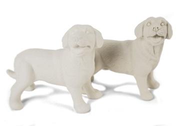 Picture of Labrador Retriever Handmade Unpainted Ceramics Mini Unpainted Cruet Set Unglazed
