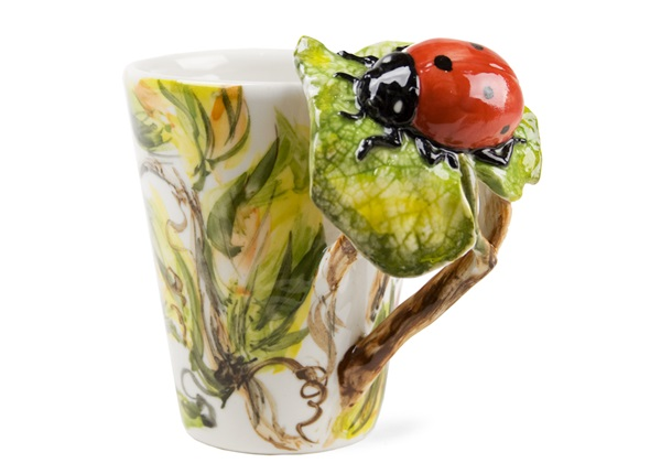 Picture of Lady Bird Handmade 8oz Coffee Mug Red And Black