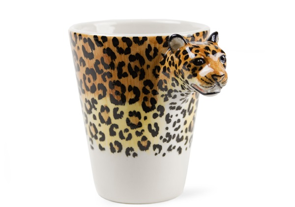Picture of Leopard Handmade 8oz Coffee Mug Black and gold