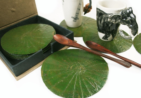Picture of Lotus Leaf Six Pack Coasters Forestgreen