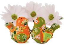 Picture of Love Birds Handmade Mini Cake Topper Orange Flamenco