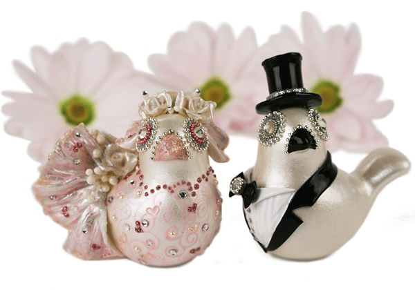Picture of Love Birds Handmade Mini Cake Topper Pink Diamante