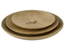 Picture of Mango Wood Handmade Large Platter Set of 3 Plate Natural