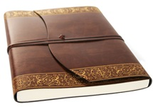 Picture of Maya Handmade Recycled Leather Wrap A4 Journal Gold Plain