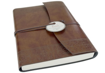 Picture of Maya Handmade Recycled Leather Wrap A5 Journal Etched Plain