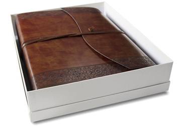 Picture of Maya Handmade Recycled Leather Wrap Large Photo Album Etched