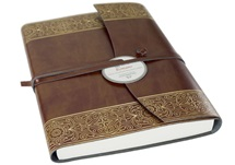 Picture of Maya Handmade Recycled Leather Wrap A5 Journal Gold lined