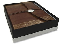 Picture of Maya Handmade Recycled Leather Wrap Large Photo Album Gold