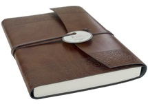 Picture of Maya Handmade Recycled Leather Wrap A6 Journal Etched Plain