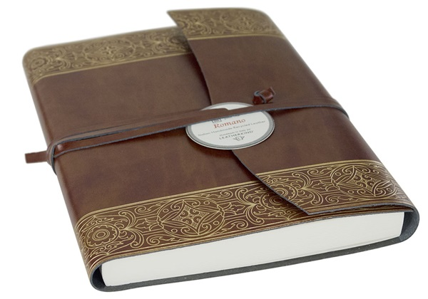 Picture of Maya Handmade Recycled Leather Wrap A6 Journal Gold Plain