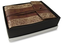 Picture of Maya Handmade Recycled Leather Wrap Small Photo Album Gold