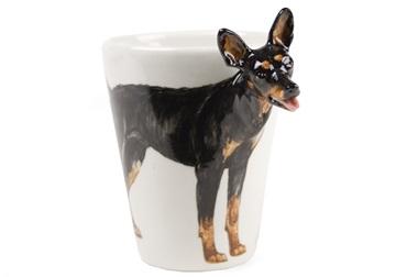 Picture of Miniature Pinscher Handmade 8oz Coffee Mug Black and Tan