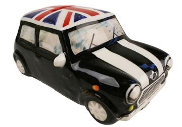 Picture of Mini Cooper Handmade Ceramic Large Money Pot Black and Union Jack