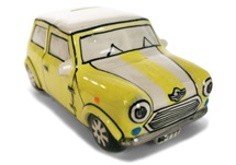 Picture of Mini Cooper Handmade Ceramic Large Money Pot Yellow