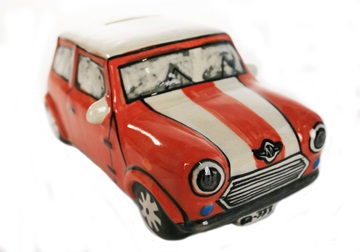 Picture of Mini Cooper Handmade Ceramic Large Money Pot Red