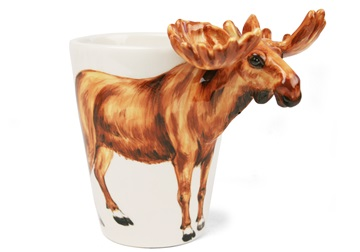 Picture of Moose 8oz Brown Handmade Coffee Mug