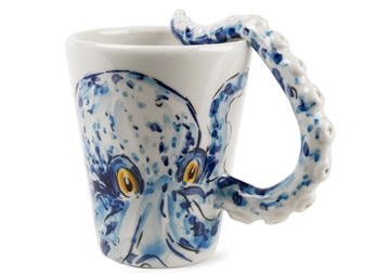 Picture of Octopus Handmade 8oz Coffee Mug Blue