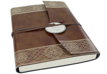Picture of Olympia Handmade Recycled Leather Wrap A5 Journal Chestnut Plain
