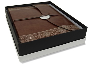 Picture of Olympia Handmade Recycled Leather Wrap Large Photo Album Celtic Brown