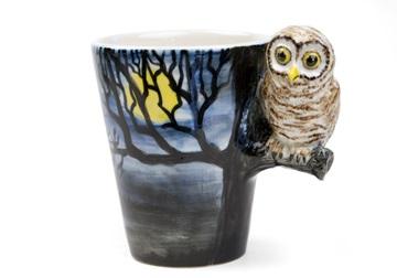 Picture of Owl Handmade 8oz Coffee Mug Dark Blue