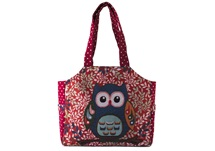 Picture of Owl and Flower Print on Canvas Medium Handbag Red and Blue