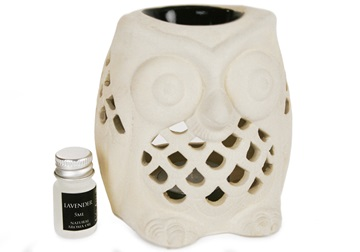 Picture of Owl Lavender Gift Set Oil Burner Handmade Stoneware