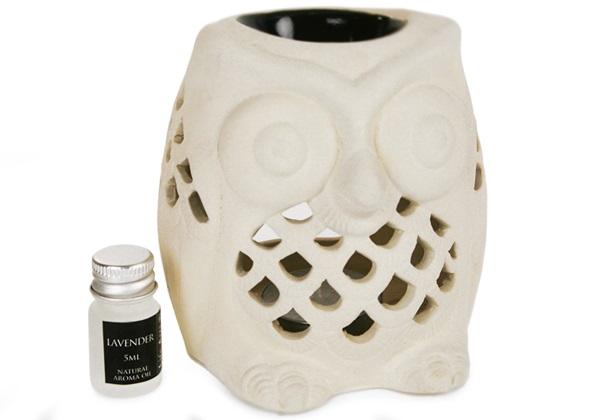 Picture of Owl Lavender Gift Set Oil Burner Handmade Stoneware