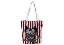 Picture of Owl Live Print on Canvas Medium Handbag Red and Blue