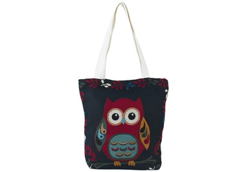 Picture of Owl Print on Canvas Medium Handbag Blue and Red