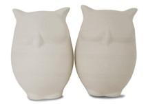 Picture of Owl Handmade Unpainted Ceramics Mini Unpainted Cruet Set Unglazed