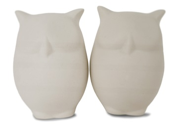 Picture of Owl Handmade Unpainted Ceramics Mini Unpainted Cruet Set Unglazed