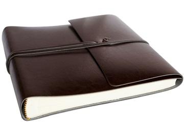 Picture of Pachino Handmade Recycled Leather Wrap Medium Photo Album Chocolate