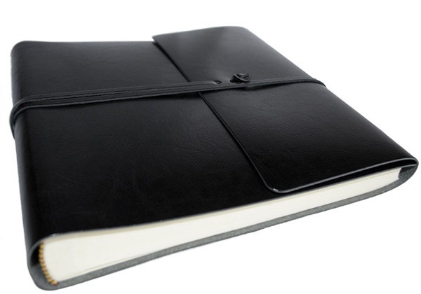 Picture of Pachino Handmade Recycled Leather Wrap Medium Photo Album Jet Black