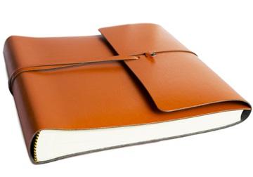 Picture of Pachino Handmade Recycled Leather Wrap Medium Photo Album Tangerine