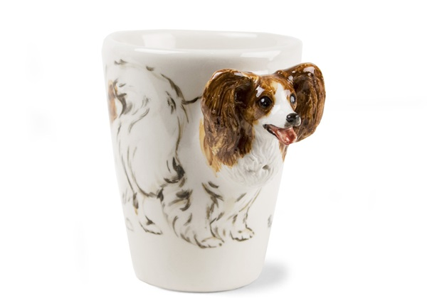 Picture of Papillon Handmade 8oz Coffee Mug Brown And White