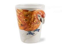 Picture of Parrot Handmade 8oz Coffee Mug Red
