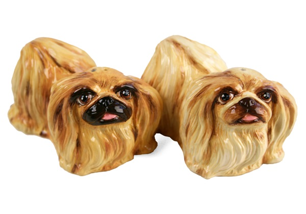 Picture of Pekingese Handmade Mini Cruet Set Fawn