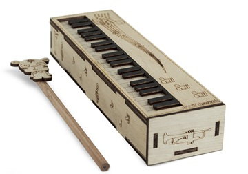 Picture of Piano Handmade Regular Wooden Pencil Box Beige