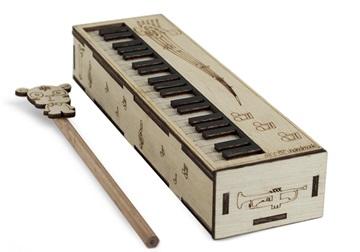 Picture of Piano Handmade Regular Wooden Pencil Box Beige