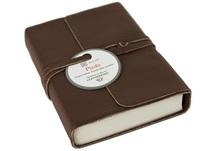 Picture of Picolino Handmade Leather Wrap Mini Journal Chocolate Plain