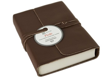 Picture of Picolino Handmade Leather Wrap Mini Journal Chocolate Plain